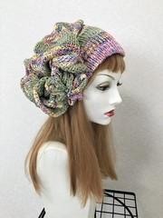 1752 夏用ショートからロング帽子ターバン:虹ピンク③緑