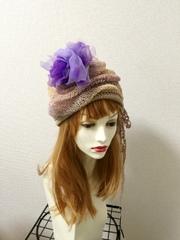 1347 リバーシブルのクシュふわっクタな夏帽子