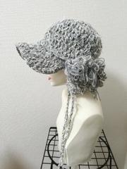 1410 雪ひらラヴリィキャスケット:灰×白