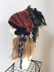 1384 お着替えカバー付き裂き布ポンポン帽 冬用