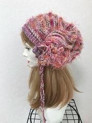 1766 リボン編みの帽子ターバン:ピンクファー