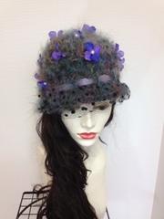 1245 チュール付モヘアのお花くるみ帽子