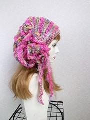 1865 リボン編みの帽子ターバン:虹ピンクネオンピンク
