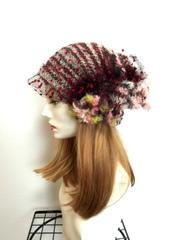 巻き薔薇チュールの帽子 赤・黒