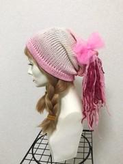 1805 ポニテが可愛いピンクグラデ帽子