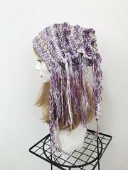 1659 リボン垂れの帽子ターバン:紫×黄色