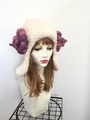 ピンク紫ツノの羊帽子