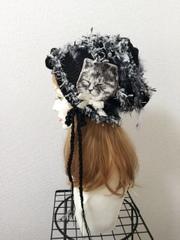 1330 眠り猫タンのクタクタ夏用コットン帽子:黒