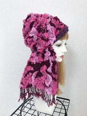 1819 布巻き帽;ピンク