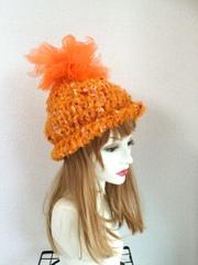 1378 オレンジ大好き!チュール粒ニット帽 ★冬用新作!