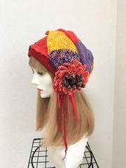 1604 パッチワーク風ニットの巻き帽子:ハットピンセット