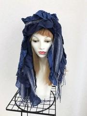 1820 布巻き帽;デニムカラー