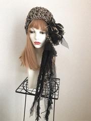 1675 麻とリボン編みのラヴリィ:黒