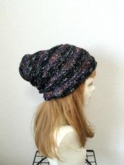 1391 クシュクシュターバン:黒×紫