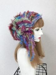 1773 リボン編みの帽子ターバン:青ファーカラホー
