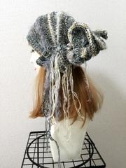1331  眠り猫タンのクタクタ夏用帽子:オーロラグレー