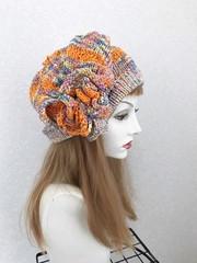 1753 夏用ショートからロング帽子ターバン:虹ピンク④ネオン