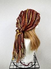 1870 布巻き帽:織り巻きオレンジ