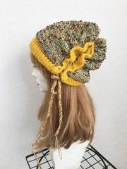 1801 リバーシブル黄色水玉帽子★感謝品