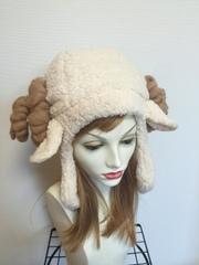 1278 耳付もこもこ羊の耳あて帽子
