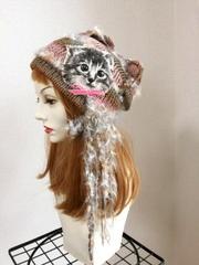 1365 クタクタ猫タン夏ニット帽★茶×ピンク