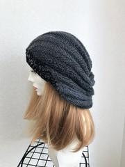 1625 マーブル模様の薄手たっぷり帽子:黒灰