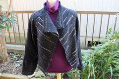 <o-f126> 黒の裂き織りジャケット