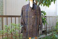 <o-f125> 立ち襟の裂き織りコート