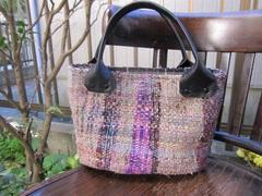 <o-b103>裂き織りの手提げバッグ