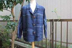 <o-f128> 藍色の裂き織テーラードジャケット