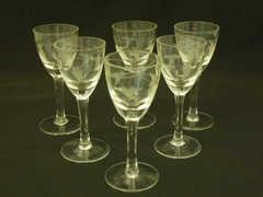 手彫りのリキュールグラス/シェリーグラス6個セット