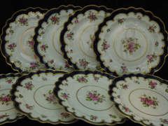 英国貴族気分♡ヴィクトリア時代のロイヤルブルーのウェルカムプレートセット(手彩色)