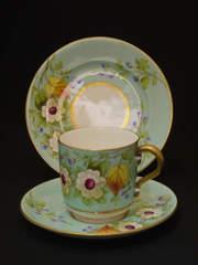 超美品!ヴィクトリア時代|花柄のブルーのトリオ