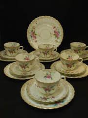 ヴィクトリア時代初期|手彩色のトリオ6客+大皿