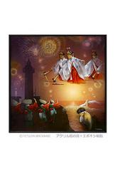 <アクリル絵の具+エポキシ樹脂>「お祭りの一日」 ポストカード