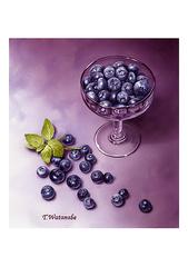 <素彩画>ブルーベリー絵の具で描く「ブルーベリー」 A4アートポスター