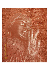<素彩画>ブロンズパウダーで描く「東大寺大仏」 A4アートポスター