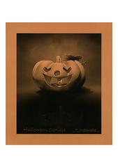 <素彩画>ロウソクのすす絵の具で描く「ハロウィンキャンドル」 A4アートポスター