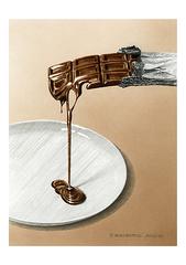 <素彩画>ココアパウダー絵の具で描く「チョコレート」 A4アートポスター
