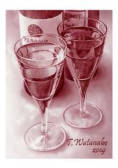<素彩画>赤ワインで描く「赤ワイン」 A4アートポスター