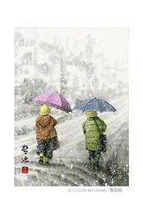 <墨彩画>「雪の朝」 ポストカード
