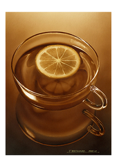 <素彩画>紅茶・レモン絵の具で描く「レモンティー」 A4アートポスター