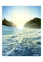 <水彩画>「雪景色」 A4アートポスター