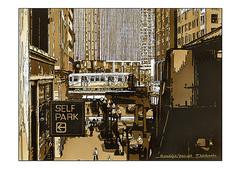 <コーヒー画>インスタントコーヒーで描く「ランドルフ・ワバッシュ駅」 A4アートポスター
