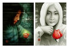 <墨彩画>「対を成す」 A4・A3アートポスター