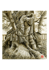 <素彩画>根菜(ごぼう)絵の具で描く「樹根」 A4アートポスター