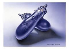 <素彩画>なすび絵の具で描く「なすび」 A4アートポスター