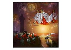 <アクリル絵の具+エポキシ樹脂>「お祭りの一日」 A4・A3アートポスター