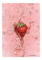 <素彩画>イチゴ絵の具で描く「いちご」 A4アートポスター