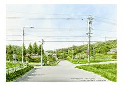 <水彩画>「散歩道」 A4アートポスター